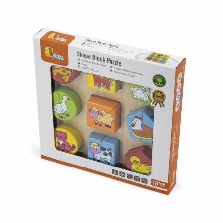 Puzzle din cuburi din lemn cu animale [1]