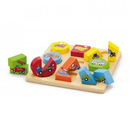 Puzzle din cuburi din lemn cu mijloace de transport [1]