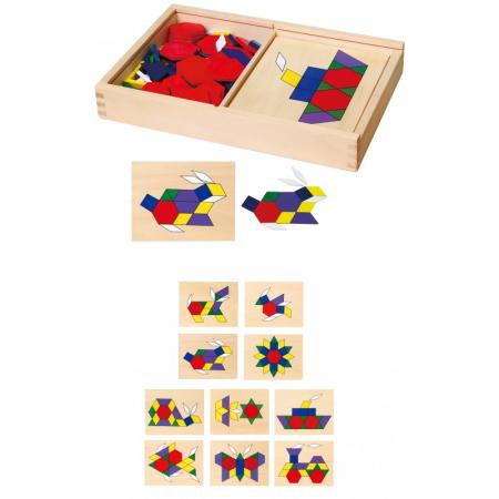 Set mozaic Tangram din lemn cu modele [3]