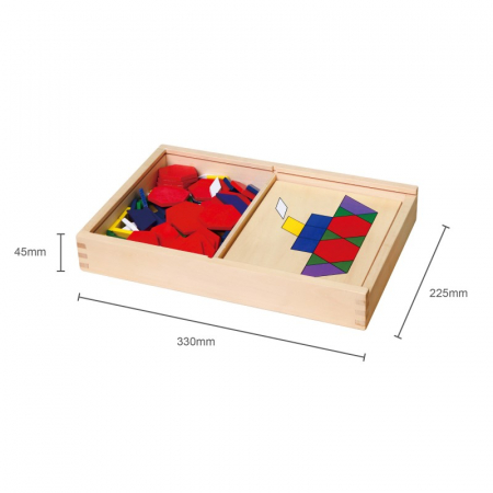 Set mozaic Tangram din lemn cu modele [1]