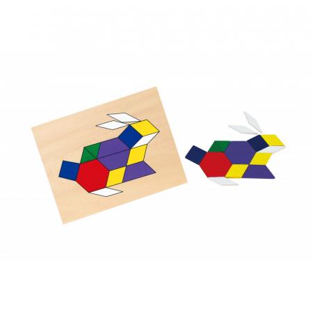 Set mozaic Tangram din lemn cu modele [2]