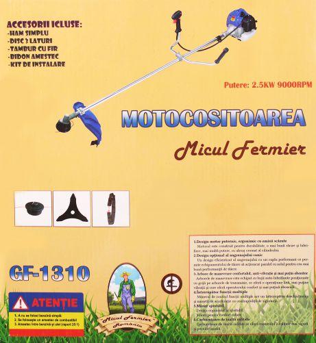 Pachet Motocoasa Micul Fermier 2.5kw, 3,4 CP, Complet accesorizata cu 3 accesorii, 2 moduri de taiere + FURCA cu 4 coarne 6