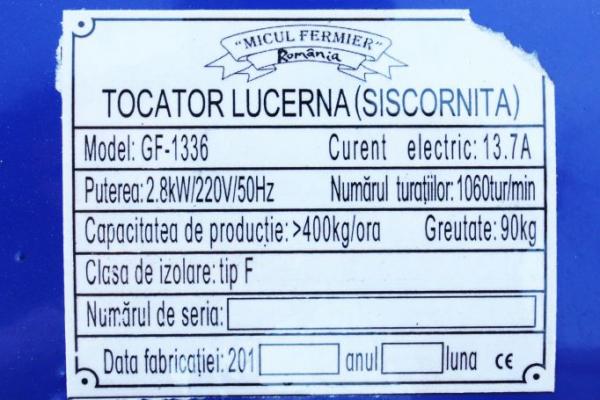 Tocator de lucerna si siscornita Micul Fermier 2.8 KW, 400 KG/H, bobinaj cupru, model nou [3]