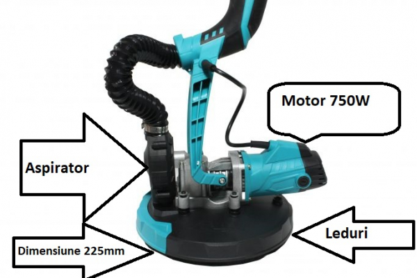 Slefuitor pentru pereti pliabil cu aspirator si LED 750W Ø225mm 3