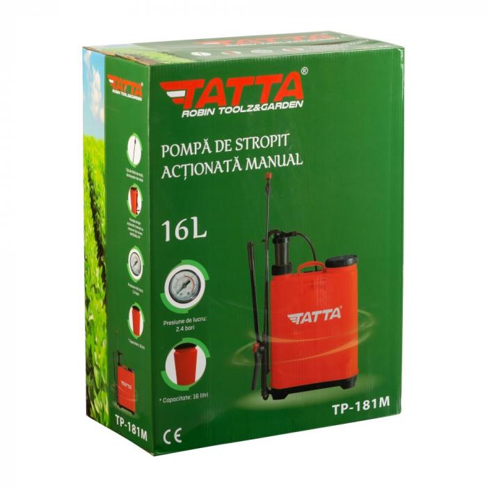 Pompa de stropit actionata manual Tatta TP-181M, 16L, 2.4 bari 4