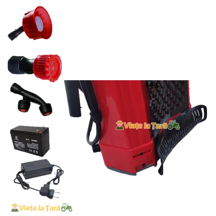 Pompa de stropit electrica si manuala ( 2 in 1 ) 16 Litri 6 Bar, regulator presiune, ELEFANT cu baterie acumulator si manuala 4