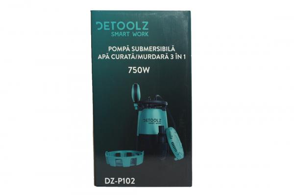 Pompa submersibila DETOOLZ, 750W, apa curata/murdara, 3in1 10
