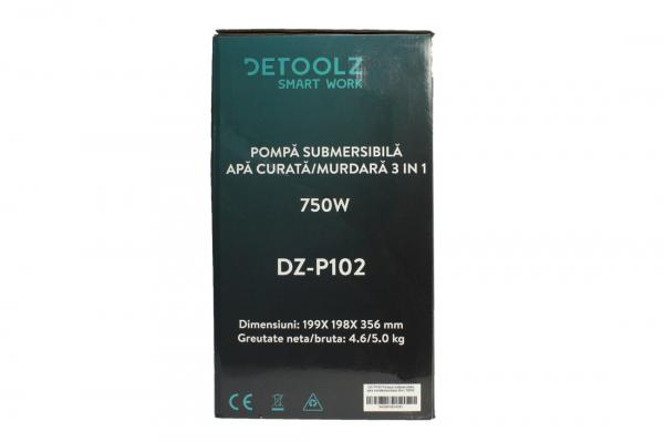 Pompa submersibila DETOOLZ, 750W, apa curata/murdara, 3in1 12