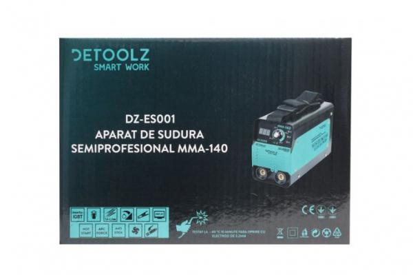 Aparat de sudura MMA-140 DETOOLZ, putere absorbita 6,1kVA, eficienta 80%, diametru electrod 1,6-3,2mm 10
