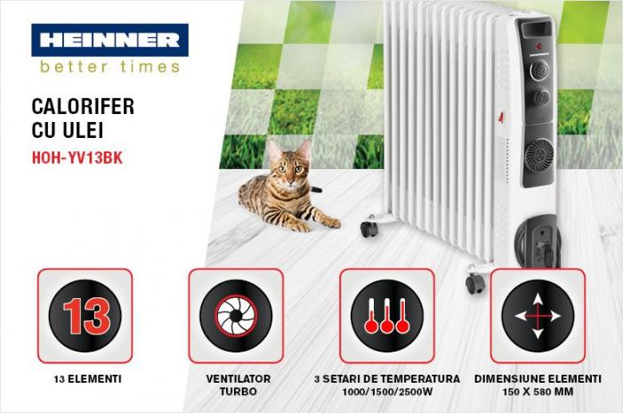 Calorifer electric cu ulei Heinner HOH-YV13BK, 2500 W, 13 elementi, ventilator 400W, protectie supraincalzire, termostat reglabil, alb 1