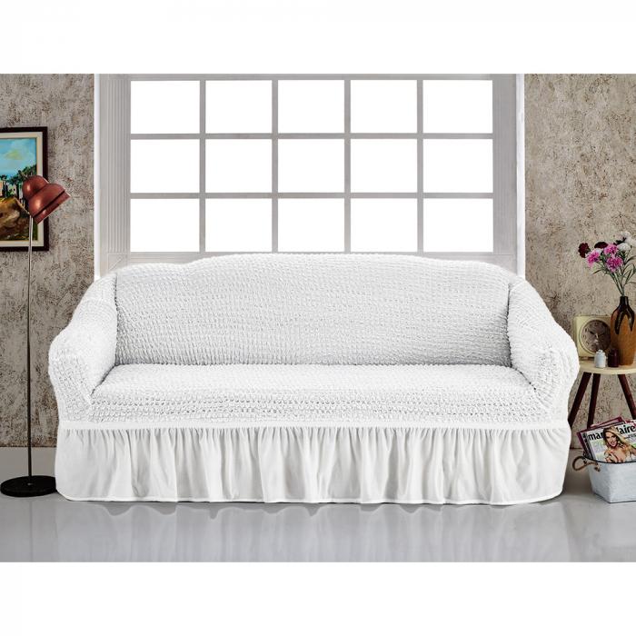 Husa pentru canapea de 2 locuri, alb, elastica [0]