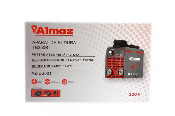 PACHET - Invertor de sudura Almaz AZ-ES001 250A Electrod 1.6-4mm, accesorii incluse + Masca de sudura automata cu cristale 10