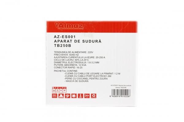 PACHET - Invertor de sudura Almaz AZ-ES001 250A Electrod 1.6-4mm, accesorii incluse + Masca de sudura automata cu cristale 3