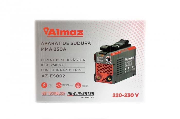 Invertor Almaz 250A AZ-ES002, Electrod 1.6-4mm, accesorii incluse + Sort din piele pentru protectie 3