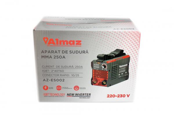 PACHET - Aparat de Sudura, Invertor Almaz 250A AZ-ES002, Electrod 1.6-4mm, accesorii incluse + Masca de sudura automata cu cristale lichide BY350F-ALOE 4