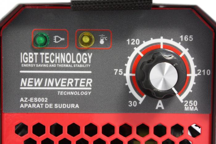 Invertor Almaz 250A AZ-ES002, Electrod 1.6-4mm, accesorii incluse + Sort din piele pentru protectie 5