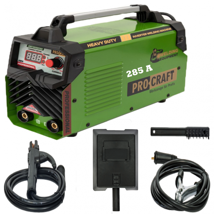 Invertor/Aparat de sudura Procraft Germany 285A, Afisaj digital, Putere 285A, Electrod 1.6-5.0 MM 0