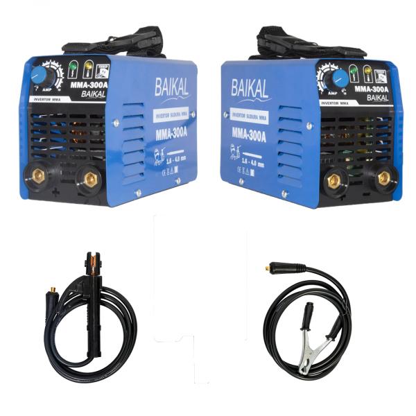 Invertor Aparat Sudura BAIKAL MMA 300A, 300Ah, diametru electrod 1.6 - 4 mm + Masca de sudura automata cu cristale 1