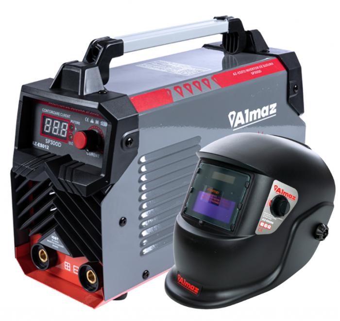 PACHET - Invertor de sudura Almaz SP300D, 300A, Profesional, AZ-ES012 + Masca de sudura automata cu cristale 2