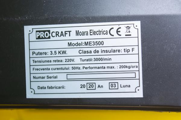Moara de cereale 250 KG/H, 3.5KW, PROCRAFT ME3500 7