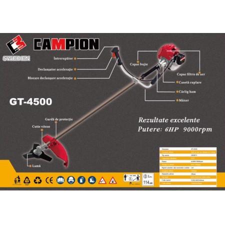 Motocoasa Campion GT-4500 6 CP, cu 5 accesorii si 3 tipuri de taiere, cu 7 accesorii + Accesoriu drujba de taiat la inaltime 10