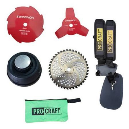 Motocoasa PROCRAFT T4500, 7 accesorii, putere 4.5kW, 56cm3, 9000Rpm, disc Vidia Swiss Inox 40T, disc 3T Swiss Inox, disc 8T Swiss Inox + tambur cu fir 2