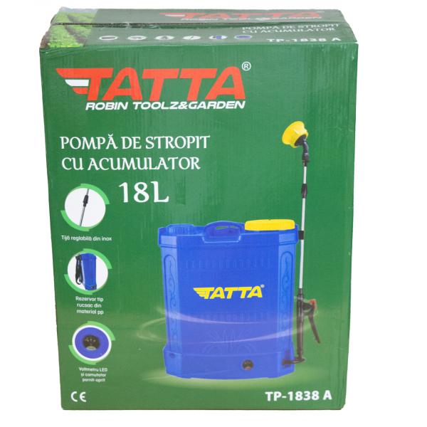 Pompă stropit cu acumulator 18 L TATA cu rezervor tip rucsac din material PVC 5