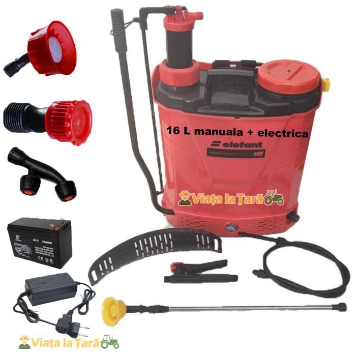Pompa de stropit electrica si manuala ( 2 in 1 ) 16 Litri 6 Bar, regulator presiune, ELEFANT cu baterie acumulator si manuala 2