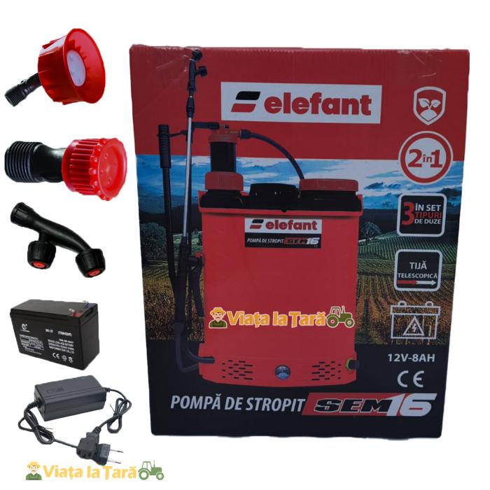 Pompa de stropit electrica si manuala ( 2 in 1 ) 16 Litri 6 Bar, regulator presiune, ELEFANT cu baterie acumulator si manuala 8
