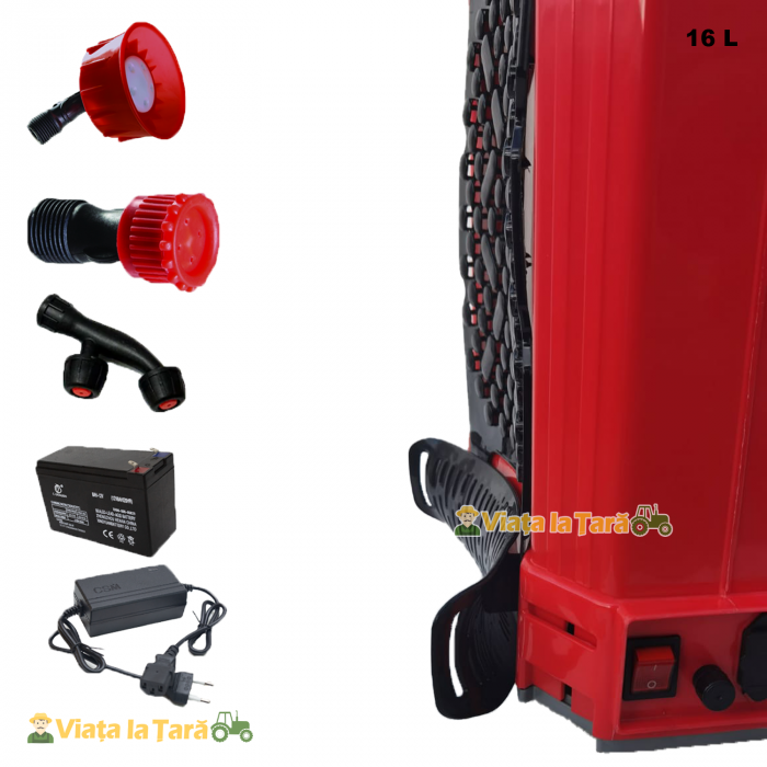 Pompa de stropit electrica si manuala ( 2 in 1 ) 16 Litri 6 Bar, regulator presiune, ELEFANT cu baterie acumulator si manuala 5
