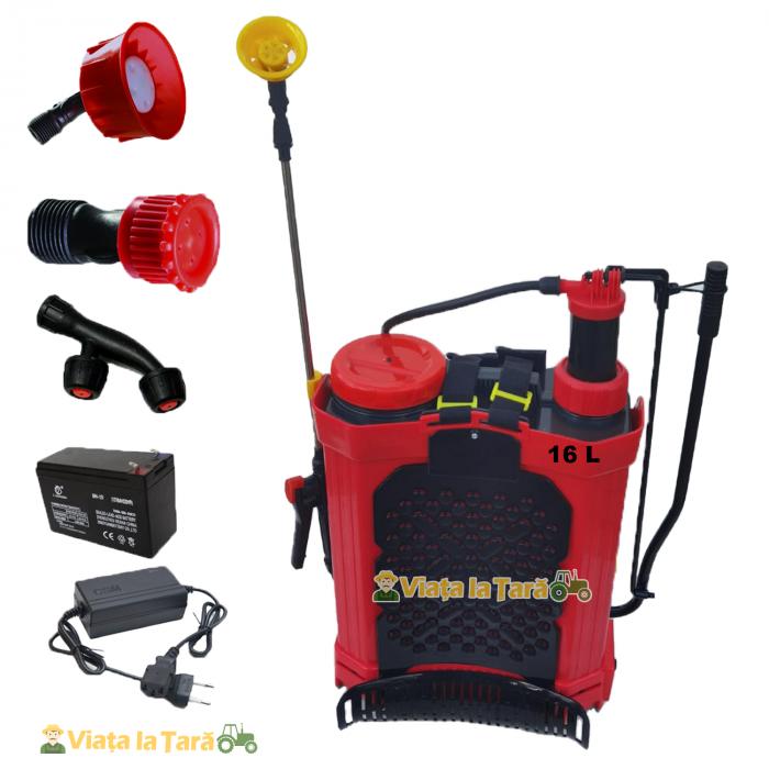 Pompa de stropit electrica si manuala ( 2 in 1 ) 16 Litri 6 Bar, regulator presiune, ELEFANT cu baterie acumulator si manuala 6