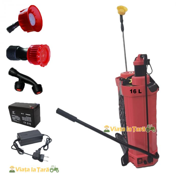 Pompa de stropit electrica si manuala ( 2 in 1 ) 16 Litri 6 Bar, regulator presiune, ELEFANT cu baterie acumulator si manuala 7