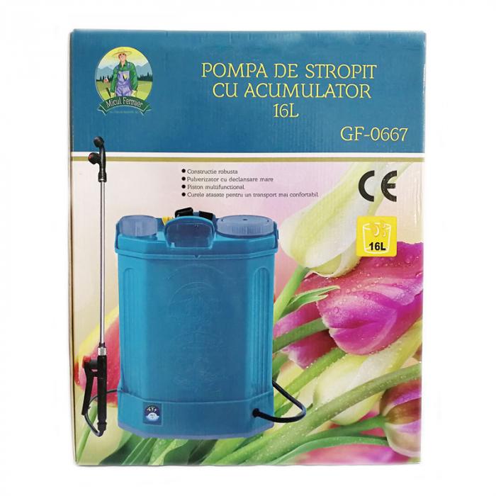 Pompa de stropit electrica Pandora 16 Litri, 5 Bari + regulator presiune, Vermorel cu baterie - acumulator 19