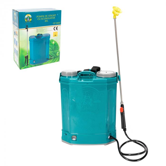 Pompa de stropit electrica Pandora 20 Litri, 5 Bari + regulator presiune, vermorel cu baterie-acumulator 1