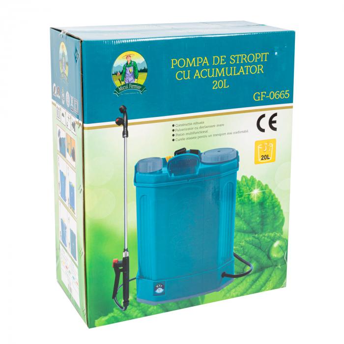 Pompa de stropit electrica Pandora 20 Litri, 5 Bari + regulator presiune, vermorel cu baterie-acumulator 8