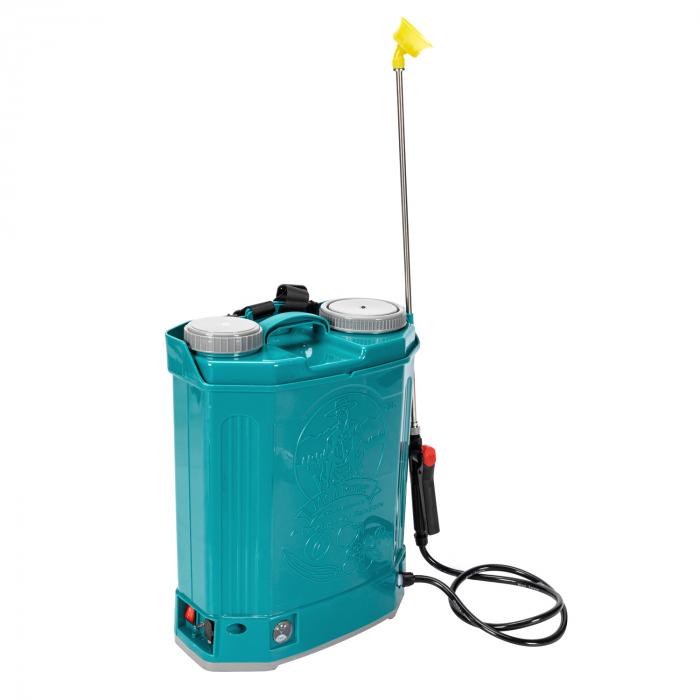 Pompa de stropit electrica Pandora 20 Litri, 5 Bari + regulator presiune, vermorel cu baterie-acumulator 4