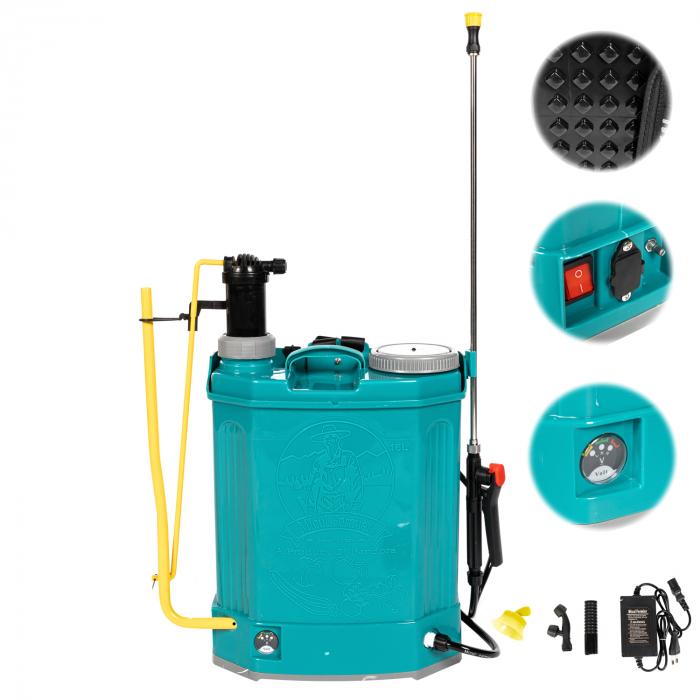 Pompa de stropit electrica si Manuala ( 2 in 1 ) 16 Litri 5 Bar, regulator presiune, Vermorel Pandora ( Herly ) cu baterie acumulator si manuala [1]