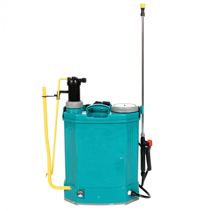 Pompa de stropit electrica si Manuala ( 2 in 1 ) 16 Litri 5 Bar, regulator presiune, Vermorel Pandora ( Herly ) cu baterie acumulator si manuala [16]