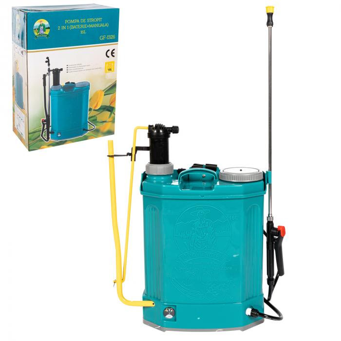 Pompa de stropit electrica si Manuala ( 2 in 1 ) 16 Litri 5 Bar, regulator presiune, Vermorel Pandora ( Herly ) cu baterie acumulator si manuala [2]