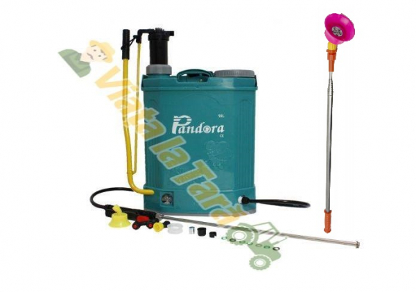 Pompa de stropit electrica si manuala ( 2 in 1 ) 16 Litri 5 Bari, Vermorel Pandora ( Herly ) cu baterie acumulator si manuala + Lance telescopica 3.3 m din inox [0]