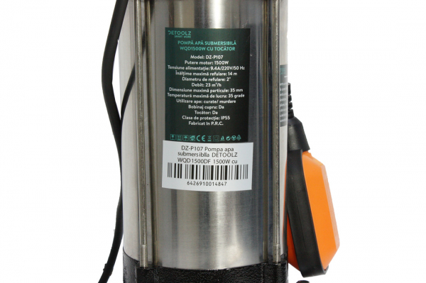 Pompa pentru apa murdara - cu tocator si plutitor 1500W din INOX 23m3/h DETOOLZ 2