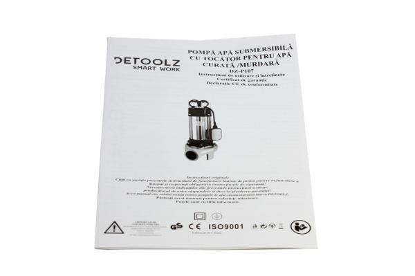 Pompa pentru apa murdara - cu tocator si plutitor 1500W din INOX 23m3/h DETOOLZ 7