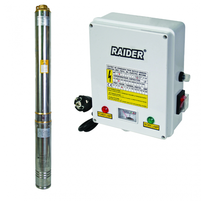 Pompa submersibila RAIDER RD-WP24 apa curata 1100 W 4980 l/h inaltime refulare 86 m inox, 14 turbine 2