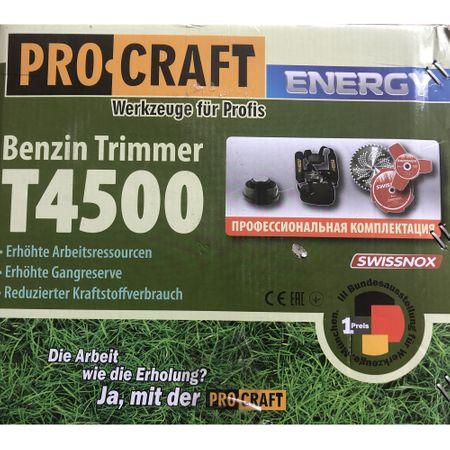 Motocoasa PROCRAFT T4500, 7 accesorii, putere 4.5kW, 56cm3, 9000Rpm, disc Vidia Swiss Inox 40T, disc 3T Swiss Inox, disc 8T Swiss Inox + tambur cu fir 5