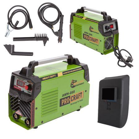 Invertor/Aparat de sudura Procraft Germany 285A, Afisaj digital, Putere 285A, Electrod 1.6-5.0 MM + Masca Sudura ProCraft SHP90-30 Automata 7