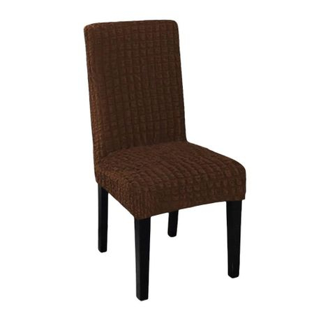Set 6 Huse pentru scaune fara volane din bumbac elasticizat, Maro [0]