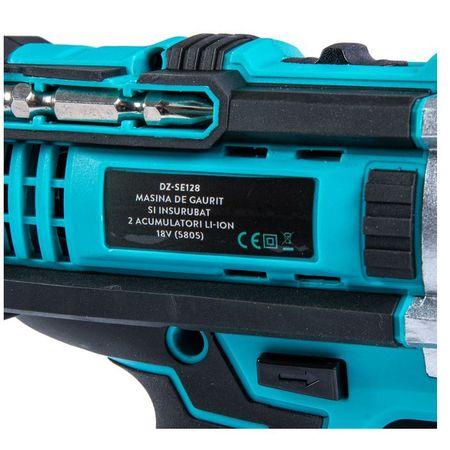 Masina de gaurit si insurubat (bormasina) cu 2 acumulatori Detoolz DZ-SE128, 18 V, 1450 RPM, 10 mm mandrina, accesorii incluse 3