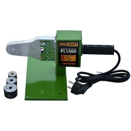 Plita, Ciocan lipit tevi PPR Procraft PL 1400W + 3 bacuri, Trusa cu Aparat Ciocan sudat Polipropilena 0
