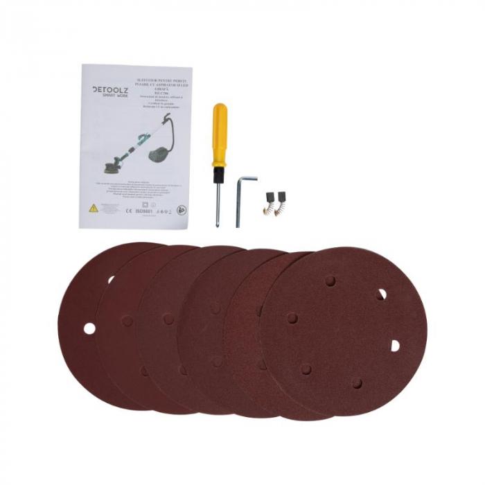 Slefuitor pentru pereti pliabil cu aspirator si LED 750W Ø225mm [14]