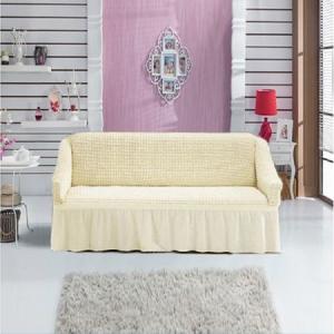Husa pentru canapea 2 locuri, crem, elastica [0]